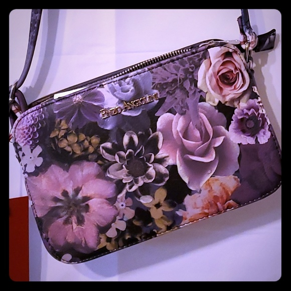 Enzo Angiolini Handbags - NEW! ENZO ANGIOLINI Purple Grey Floral Small Purse